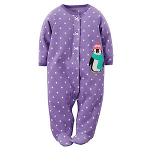 3a59c2b5091f NWT Carter s Penguin Micro Fleece Footed Sleeper Baby Infant Girls 6 ...
