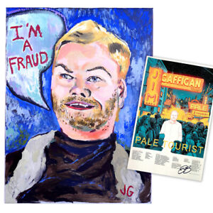 Jim-Gaffigan-Signed-034-I-039-m-a-Fraud-Painting-034-Blue-and-034-Pale-Tourist-034-Poster