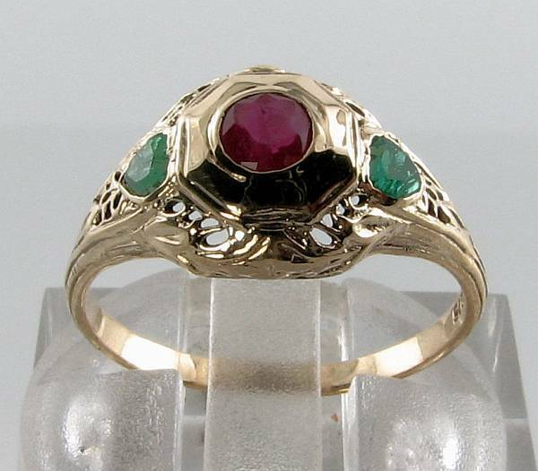 COMBO 9CT YELLOW gold EMERALD HEART & INDIAN RUBY ART DECO INS FILIGREE RING