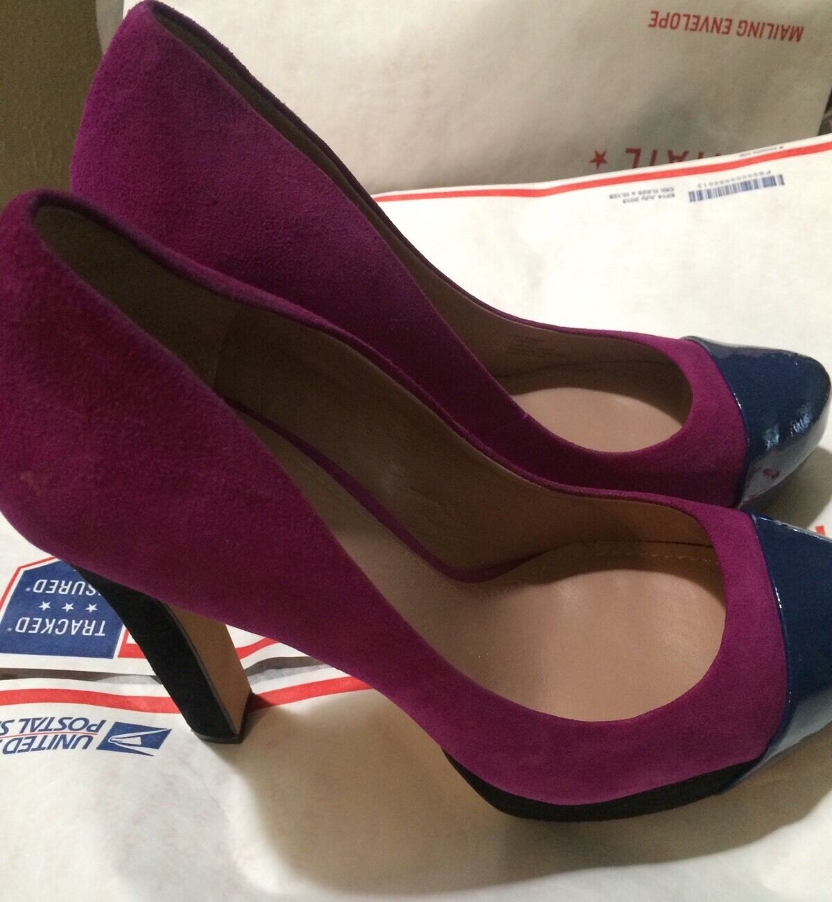 10 NEW Vince Camuto Pink  bluee Suede And Patent Leather Platform shoes