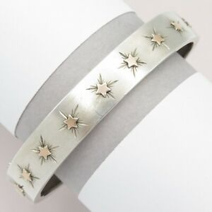 Antique-Victorian-French-Sterling-Silver-Rose-Gold-Plated-STAR-Bangle-Bracelet