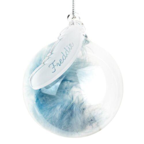 nom Personnalisé Gravé Feather Glass Baubles Décorations 3 couleurs Noël