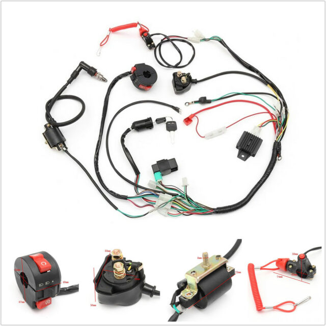 universal wiring harness loom solenoid coil rectifier cdi 50 70 90 110 125cc atv Arc Wiring Harness