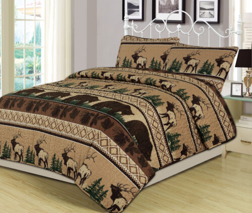 Queen King Twin Quilt Bed Set or Curtain Pair Bear Elk Log Cabin Lodge Rustic