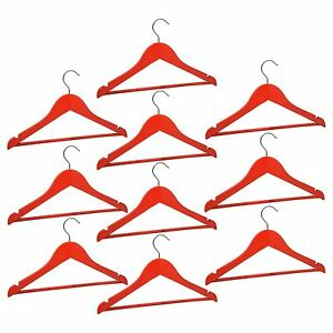 10-Childrens-Wooden-Coat-Hangers-Kids-Clothes-Trouser-Hanger-Bar-Red