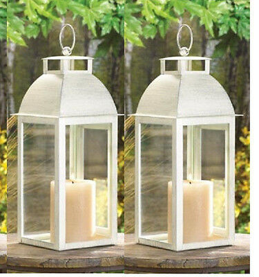 2 lot Distressed chic WHITE shabby Candle Lantern holder wedding centerpiece set