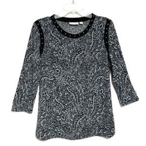 Susan-Graver-Top-Size-Small-Liquid-Knit-Paisley-Print-Stretch-Studded-Trim