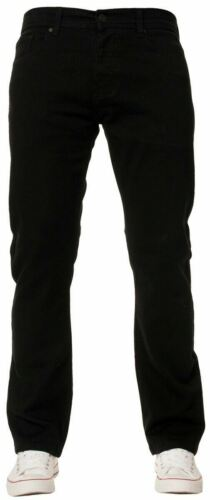 Enzo Mens EZ359 Straight Leg Stretch Jeans Black