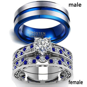 2-Rings-Couple-Rings-Stainless-Steel-Sapphire-White-Gold-CZ-Women-039-s-Wedding-Ring