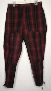 Vintage-Woolrich-1940-039-s-Red-Black-Buffalo-Plaid-Mackinaw-Hunting-Pants-Lace-Up