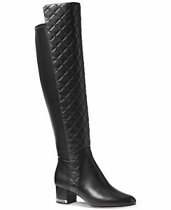 ec85274d4 MICHAEL KORS SABRINA ICONIC MK LOGO CHAIN HEEL TALL QUILTED BOOTS I ...