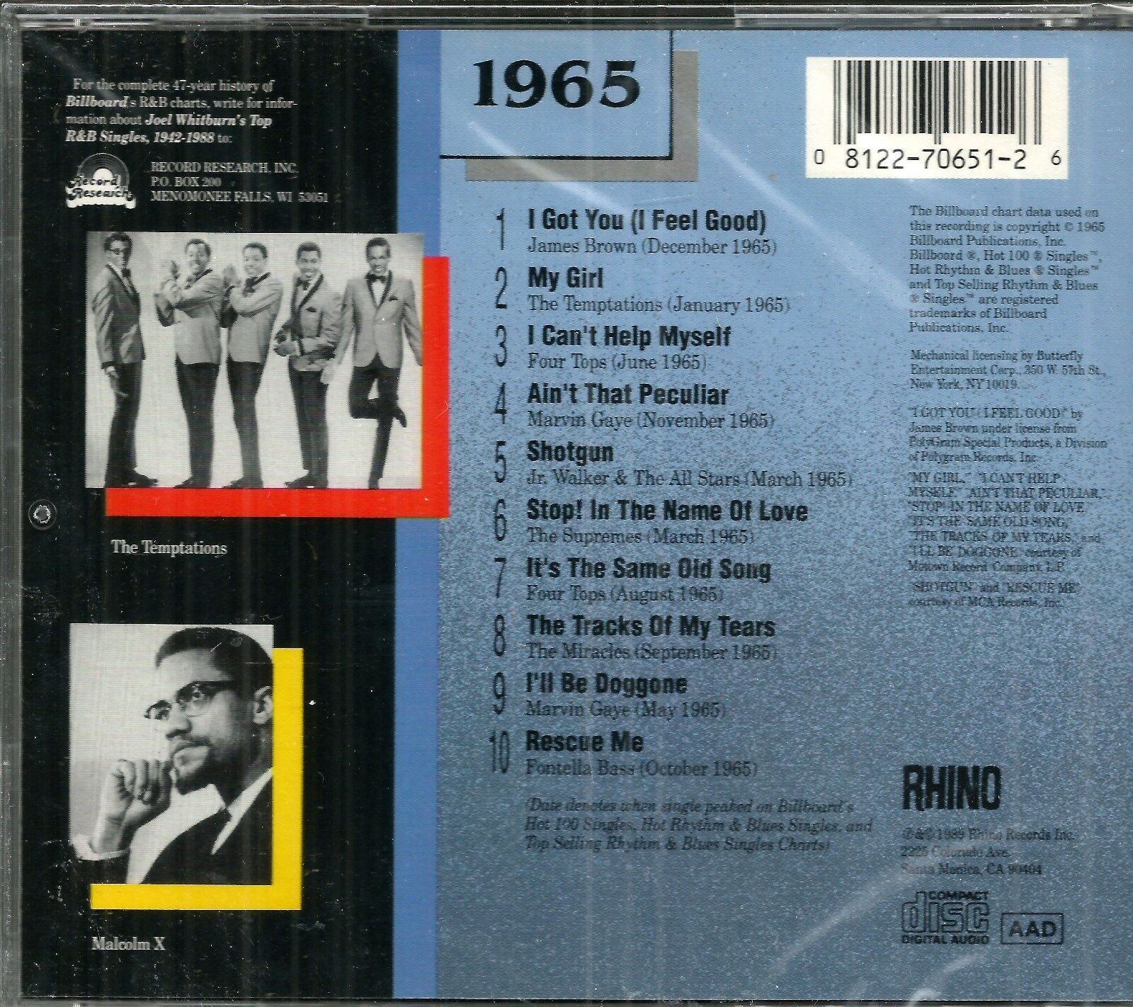 Billboard Top R&B Hits: 1965 by Various Artists (CD, Jun-1989, Rhino  (Label))