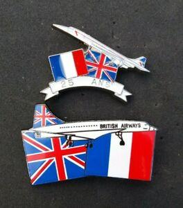 CONCORDE-25TH-ANNIVERSARY-BRITISH-AIRWAYS-AIR-FRANCE-RARE-PIN-BADGE-SET