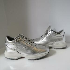 Details about Hogan Silver Leather Lace Up Sneakers/Shoes Size 36.5