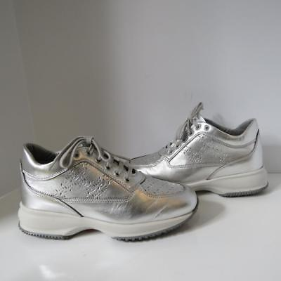 Hogan Silver Leather Lace Up Sneakers/Shoes Size 36.5   eBay