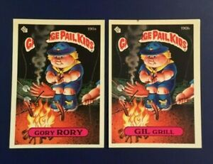 1986-Topps-190a-GORY-RORY-190b-GIL-GRILL-Lot-2-Garbage-Pail-Kids-GPK-LOOK