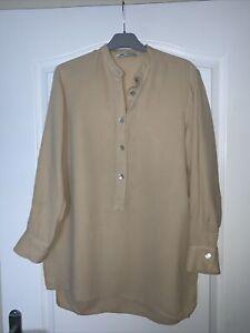 Zara-Beige-Camel-Shirt-Blouse-Front-Button-Detail-Grandad-Collar-Long-Sleeve-XS