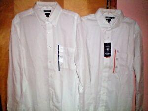 NWT-NEW-mens-white-CROFT-amp-BARROW-l-s-dress-shirt-button-down-collar
