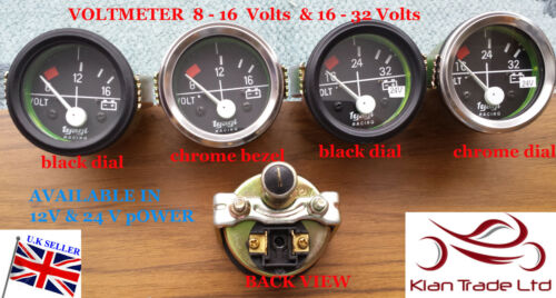 "2/""Vintage CAR UNIVERSAL 8-16-32 V VOLTMETER CLOCK BLACK CHROME 12,24V DIAL GAUGE"