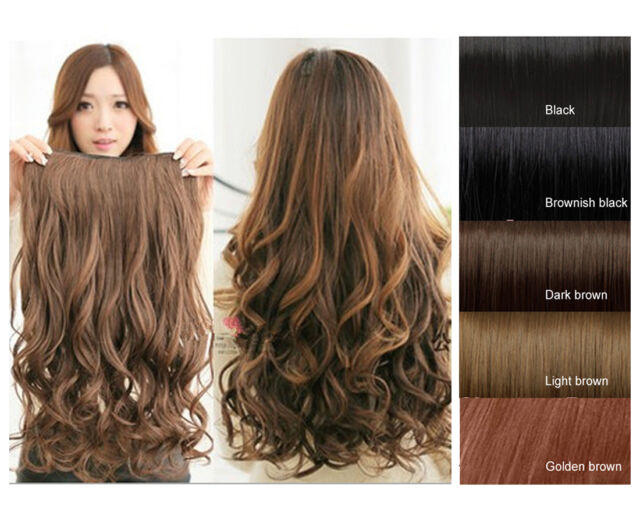 5 Clips Synthetic Human Hair Extensions Long Wavy Curly Hair Hair Cap Accessory