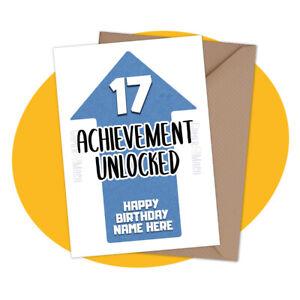 PERSONALISED BIRTHDAY CARD - Achievement Unlocked - personalized gamer gaming