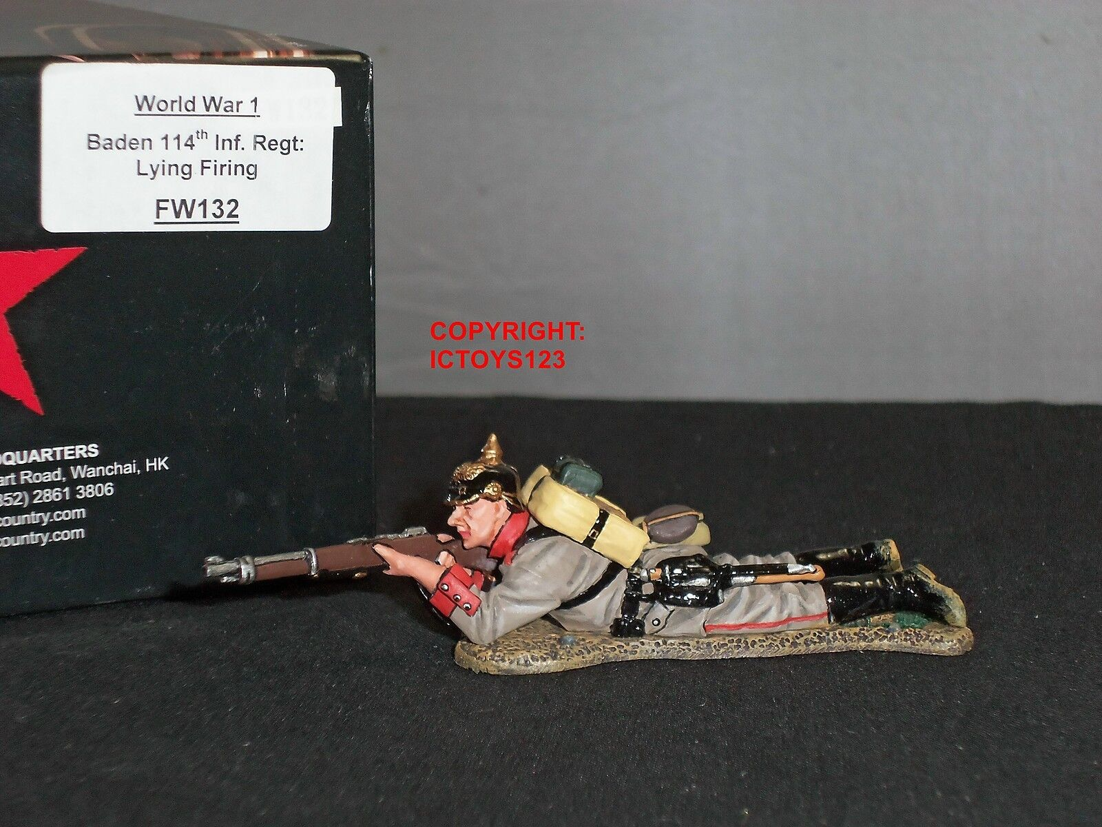 KING AND COUNTRY FW132 GERMAN BADEN 114TH INFANTRY LYING FIRING TOY SOLDIER