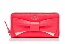 NWT! Kate Spade Eden Lane Bow Lacey Zip Around Wallet PWRU4854 Red Pink Leather