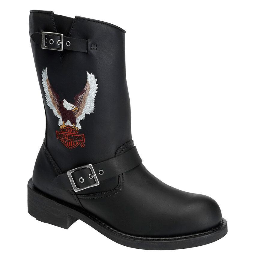 Para Hombre Harley Davidson Jerry tirar-en ingeniero botas de motocicleta D93309 Negro