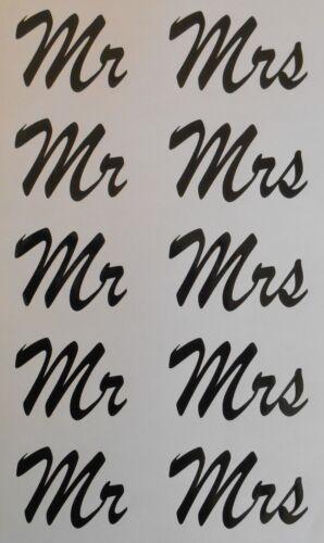 Mr /& Mrs Stickers 10 Stickers 5 Pairs Glitter Wine Glass Wedding Crafting A