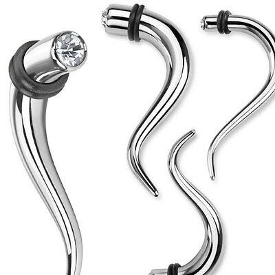 Pair Surgical Steel Single CZ Hanging Tapers Expanders Plugs Earrings Gauges