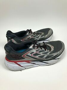 Men-039-s-Size-9-5-Hoka-One-One-M-Clifton-3-Gray-Black-Red-Athletic-Running-Shoes