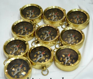 Lot of 100 Vintage Brass Compass Nautical Key Chain Pendant Marine Style Gift