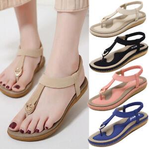 cdfe7f3a55ec09 Women Summer Bohemia Slipper Flip Flops Lady Flat Sandals Casual ...