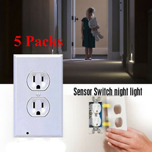 Details About 5x Outlet Wall Plate Led Night Lights Cover Duplex Ambient Light Sensor Hallway