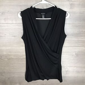 White House Black Market Women's Size XS Sleeveless Top Ruched Black Jersey