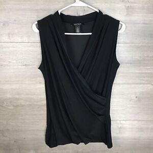 White House Black Market Women's Size XS Sleeveless Top Ruched Black Jersey