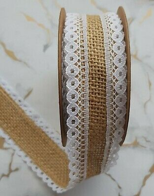 Hessian Lace Ribbon 5yd x 26mm Full Roll For Rustic Vintage Wedding Card Craft