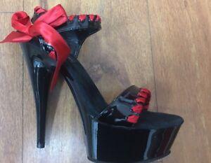 Pleaser-heels-pole-cross-dressing-Black-platform-with-red-ribbon-SIZES-5-14