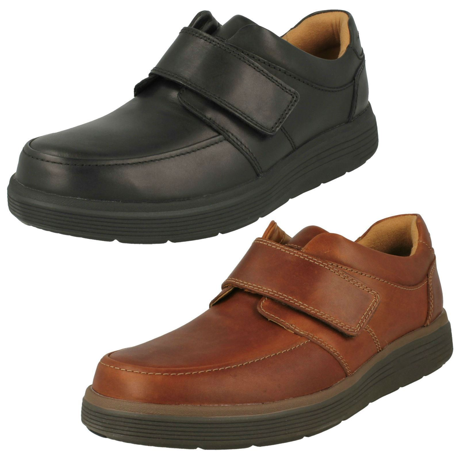 Mens Clarks Un Abode Strap Casual Leather Hook & Loop Strap shoes WIDE H Fitting