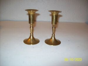 482-Pair-of-Solid-Brass-Candlestick-Candle-Holders-5-Inches-Tall