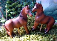 Miniature Horse Red / Brown Set/ 2 0448 Fairy Garden Dollhouse