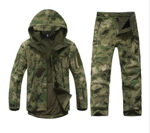 De hombre de caza ropa de camuflaje impermeable a prueba de viento con Capucha Chaqueta Pantalones Traje