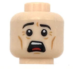 LEGO NEW MEDIUM DARK FLESH HEAD STERN LOOK FROWN PIECE