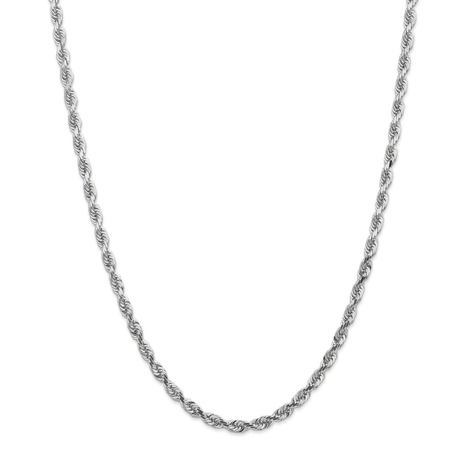 14k White gold 4.5mm Diamond Cut Quadruple Rope Chain w  Lobster Clasp 20  - 30