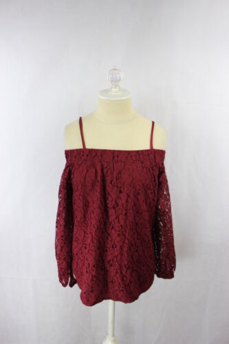 7 Sisters women/'s Off Shoulder Lace High Low Top Blouse