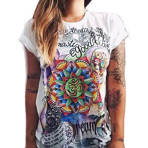 Mujer-Verano-Camiseta-manga-corta-cuello-redondo-Grafiti-Estampado-Holgado-Top