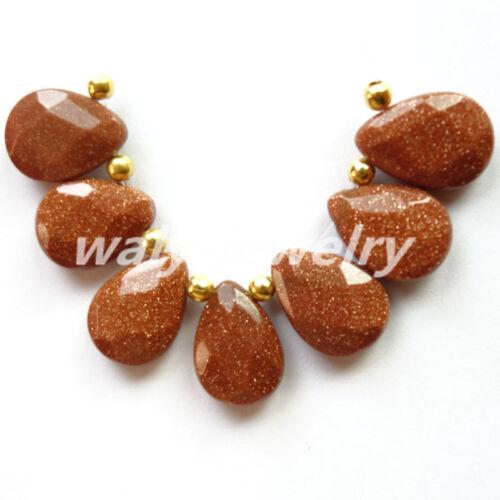 Uncommon Faceted 18x13mm Gold Sand Stone Teardrop Pendant Bead 7Pcs//Set Q236