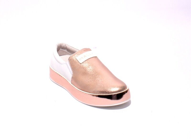 Mally 007a pink gold White Leather   Elastic Platform Loafers Flats 36   US 6