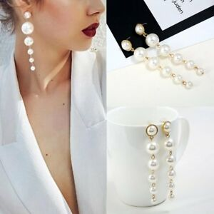 Women-039-s-Elegant-Big-Pearl-Long-Tassel-Dangle-Earrings-Crystal-Stud-Drop-Jewelry