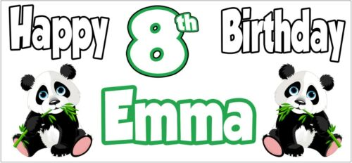 Party Decorations Personalised ANY NAME Panda 8th Birthday Banner x 2